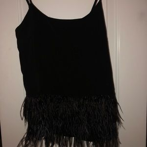 Black feathered tank top